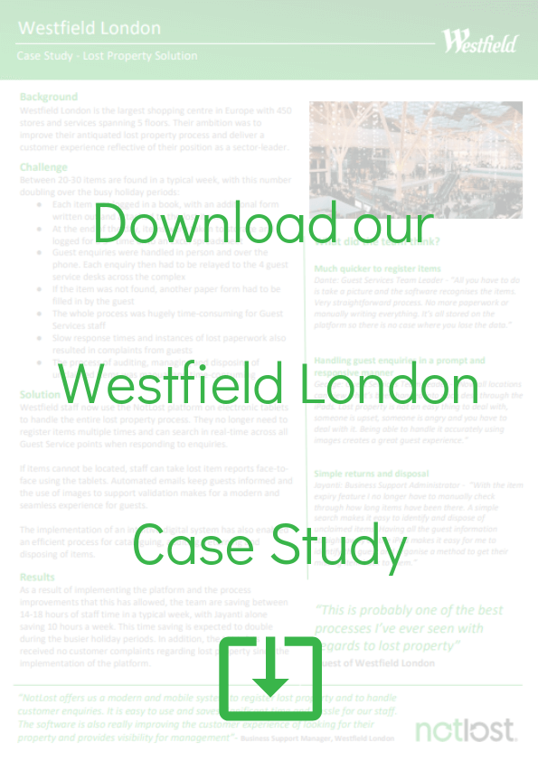 Westfield London Lost and found software case study