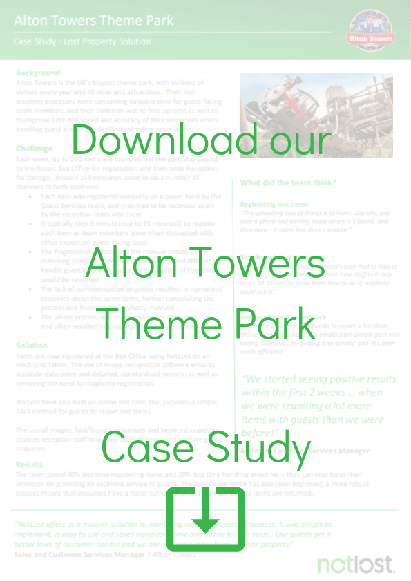 Alton Towers Lost and found software case study