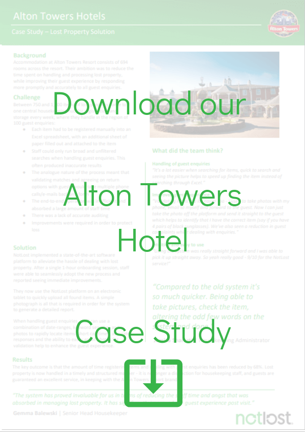 Alton Towers Hotel Lost and found software case study
