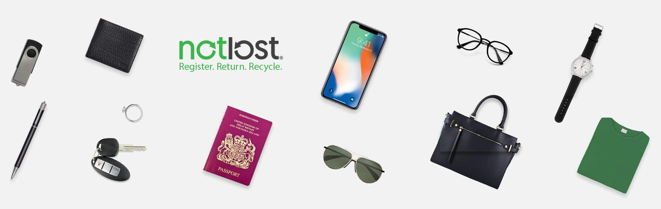 Various items of lost property including a lost passport, lost iPhone, lost glasses, lost keys, lost handbag and lost wallet.