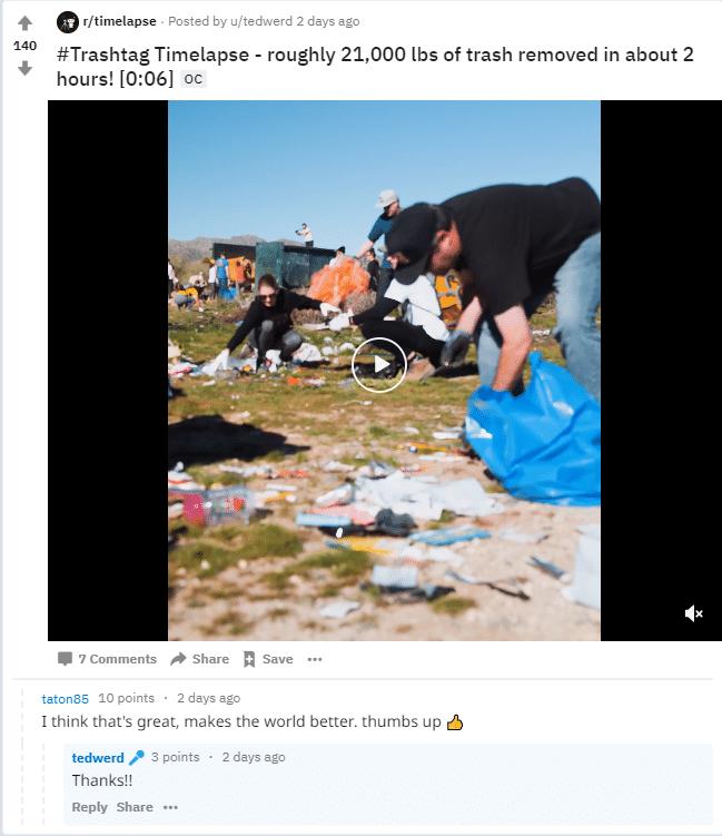 Trashtag timelapse 21,000